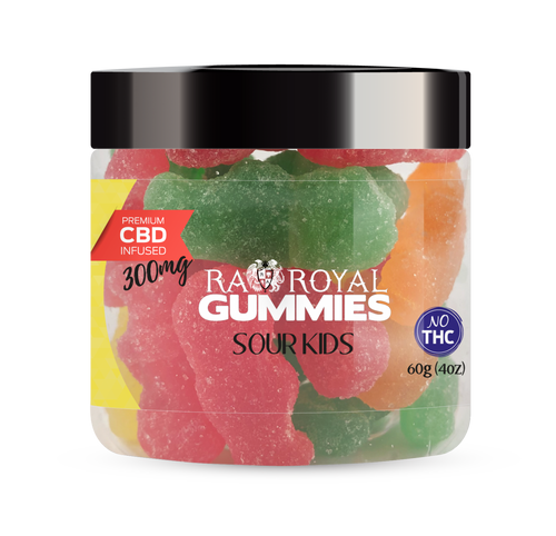 CBD Gummies are the #1 CBD choice for many people wanting to take CBD oil (cannabidiol). R.A. Royal Gummies 300mg CBD Infused Sour Kids provide a natural CBD hemp extract in your favorite CBD gummy taste! The chewy edible CBD infused candies manufactured from industrial hemp plants will let you experience the delicious benefits of CBD oil.  NO THC.