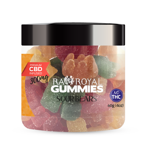CBD Gummies are the #1 CBD choice for many people wanting to take CBD oil (cannabidiol). R.A. Royal Gummies 300mg CBD Infused Sour Bears provide a natural CBD hemp extract in your favorite CBD gummy taste! The chewy edible CBD infused candies manufactured from industrial hemp plants will let you experience the delicious benefits of CBD oil.  NO THC.