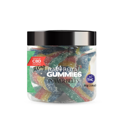 CBD Gummies are the #1 CBD choice for many people wanting to take CBD oil (cannabidiol). R.A. Royal Gummies 300mg CBD Infused Power Belts provide a natural CBD hemp extract in your favorite CBD gummy taste! The chewy edible CBD infused candies manufactured from industrial hemp plants will let you experience the delicious benefits of CBD oil.  NO THC.