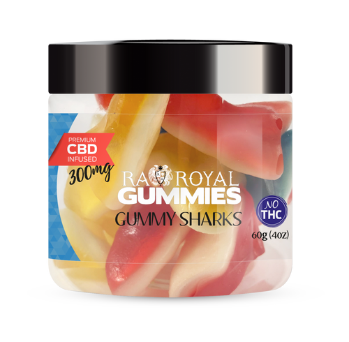 CBD Gummies are the #1 CBD choice for many people wanting to take CBD oil (cannabidiol). R.A. Royal Gummies 300mg CBD Infused Gummy Sharks provide a natural CBD hemp extract in your favorite CBD gummy taste! The chewy edible CBD infused candies manufactured from industrial hemp plants will let you experience the delicious benefits of CBD oil.  NO THC.