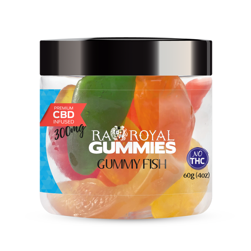 CBD Gummies are the #1 CBD choice for many people wanting to take CBD oil (cannabidiol). R.A. Royal Gummies 300mg CBD Infused Gummy Fish provide a natural CBD hemp extract in your favorite CBD gummy taste! The chewy edible CBD infused candies manufactured from industrial hemp plants will let you experience the delicious benefits of CBD oil.  NO THC.