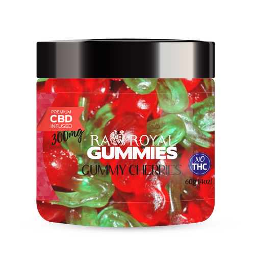 CBD Gummies are the #1 CBD choice for many people wanting to take CBD oil (cannabidiol). R.A. Royal Gummies 300mg CBD Infused Gummy Cherries provide a natural CBD hemp extract in your favorite CBD gummy taste! The chewy edible CBD infused candies manufactured from industrial hemp plants will let you experience the delicious benefits of CBD oil.  NO THC.