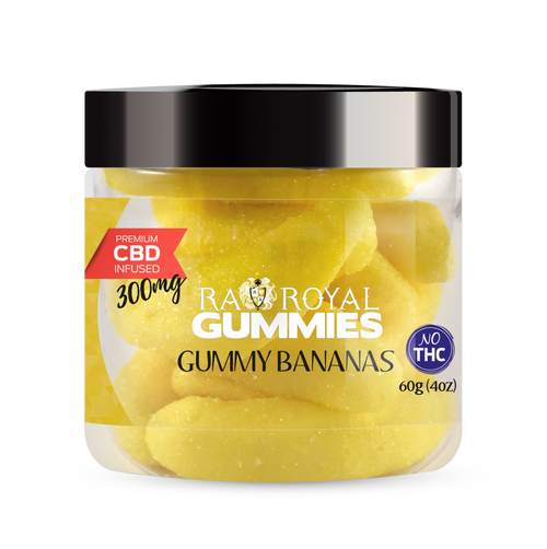 CBD Gummies are the #1 CBD choice for many people wanting to take CBD oil (cannabidiol). R.A. Royal Gummies 300mg CBD Infused Gummy Bananas provide a natural CBD hemp extract in your favorite CBD gummy taste! The chewy edible CBD infused candies manufactured from industrial hemp plants will let you experience the delicious benefits of CBD oil.  NO THC.
