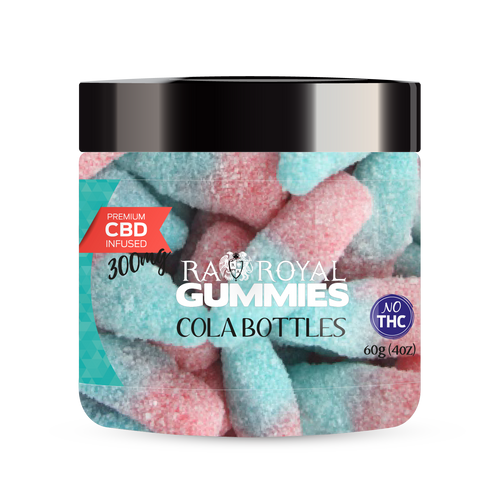 CBD Gummies are the #1 CBD choice for many people wanting to take CBD oil (cannabidiol). R.A. Royal Gummies 300mg CBD Infused Cola Bottles provide a natural CBD hemp extract in your favorite CBD gummy taste! The chewy edible CBD infused candies manufactured from industrial hemp plants will let you experience the delicious benefits of CBD oil.  NO THC.