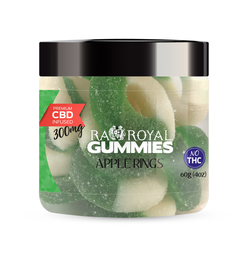 CBD Gummies are the #1 CBD choice for many people wanting to take CBD oil (cannabidiol). R.A. Royal Gummies 300mg CBD Infused Apple Rings provide a natural CBD hemp extract in your favorite CBD gummy taste! The chewy edible CBD infused candies manufactured from industrial hemp plants will let you experience the delicious benefits of CBD oil.  NO THC.