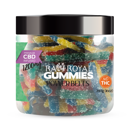 CBD Gummies are the #1 CBD choice for many people wanting to take CBD oil (cannabidiol). R.A. Royal Gummies 1200mg CBD Infused Power Belts provide a natural CBD hemp extract in your favorite CBD gummy taste! The chewy edible CBD infused candies manufactured from industrial hemp plants will let you experience the delicious benefits of CBD oil.  NO THC.