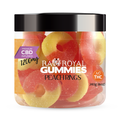 CBD Gummies are the #1 CBD choice for many people wanting to take CBD oil (cannabidiol). R.A. Royal Gummies 1200mg CBD Infused Peach Rings provide a natural CBD hemp extract in your favorite CBD gummy taste! The chewy edible CBD infused candies manufactured from industrial hemp plants will let you experience the delicious benefits of CBD oil.  NO THC.