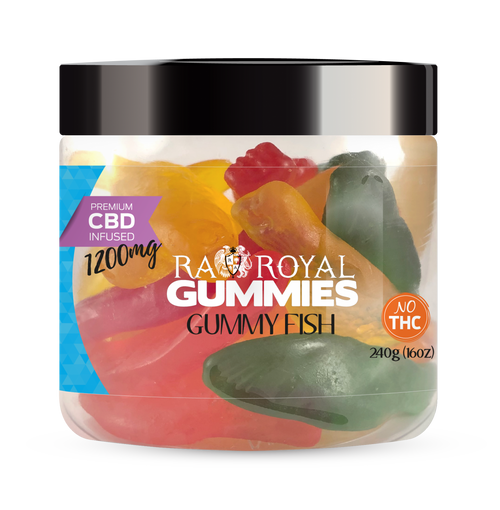 CBD Gummies are the #1 CBD choice for many people wanting to take CBD oil (cannabidiol). R.A. Royal Gummies 1200mg CBD Infused Gummy Fish provide a natural CBD hemp extract in your favorite CBD gummy taste! The chewy edible CBD infused candies manufactured from industrial hemp plants will let you experience the delicious benefits of CBD oil.  NO THC.