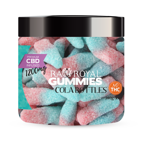 CBD Gummies are the #1 CBD choice for many people wanting to take CBD oil (cannabidiol). R.A. Royal Gummies 1200mg CBD Infused Cola Bottles provide a natural CBD hemp extract in your favorite CBD gummy taste! The chewy edible CBD infused candies manufactured from industrial hemp plants will let you experience the delicious benefits of CBD oil.  NO THC.