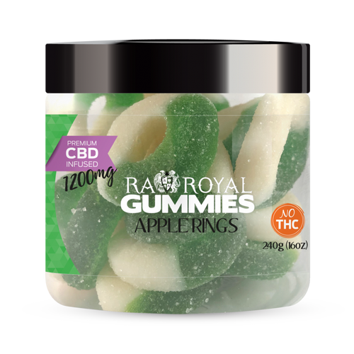 CBD Gummies are the #1 CBD choice for many people wanting to take CBD oil (cannabidiol). R.A. Royal Gummies 1200mg CBD Infused Apple Rings provide a natural CBD hemp extract in your favorite CBD gummy taste! The chewy edible CBD infused candies manufactured from industrial hemp plants will let you experience the delicious benefits of CBD oil.  NO THC.