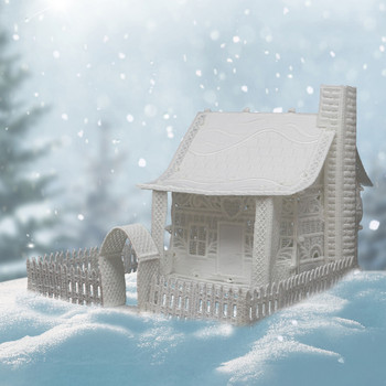 Winter Village Freestanding Cottage with Fence