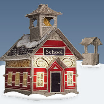 Christmas Village Schoolhouse with Well