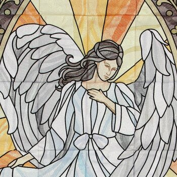 Celestial Stained Glass Tiling Scene