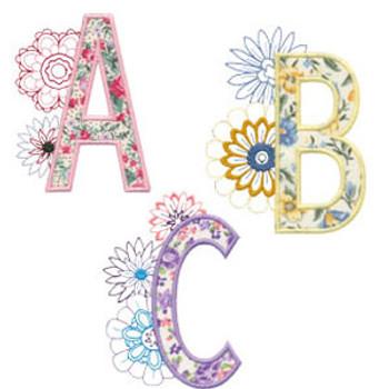 Floral Alphabet Appliques