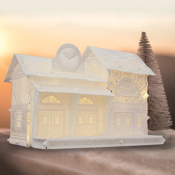 Freestanding Christmas Village Train Station
