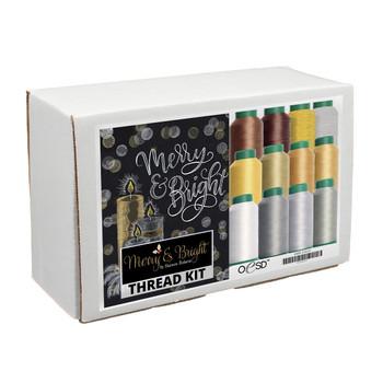 Merry & Bright Tiling Scene White & Gold Thread Kit