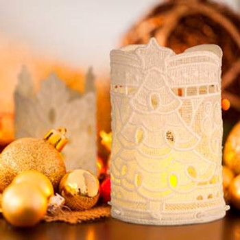 Freestanding Lace Christmas Tea Light Holders