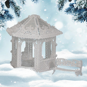 Winter Village Freestanding Gazebo & Bench