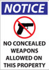 Notice, No Concealed Weapons Allowed On This Property