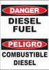 """Zing Bilingual Agriculture Sign, Danger Diesel Fuel, 14 H""""x 10 W"""", Available in Different Materials"""