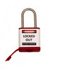 Lockout Padlock, Red, Stainless Steel Shackle