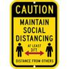 """Parking Sign, Maintain 3 Feet Distance, 12"""" x 18"""" Aluminum"""