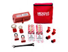 Electrical Lockout Kit with breaker lockouts, lockout tags, and lockout padlocks.