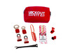 Lockout Tagout Kit with fabric pouch, hasps, and lockout padlocks.
