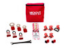 Lockout Tagout Kit with pouch, three lockout padlocks and an assortment of breaker lockout devices.