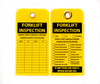 Forklift Inspection Lockout Tag, Yellow Plastic