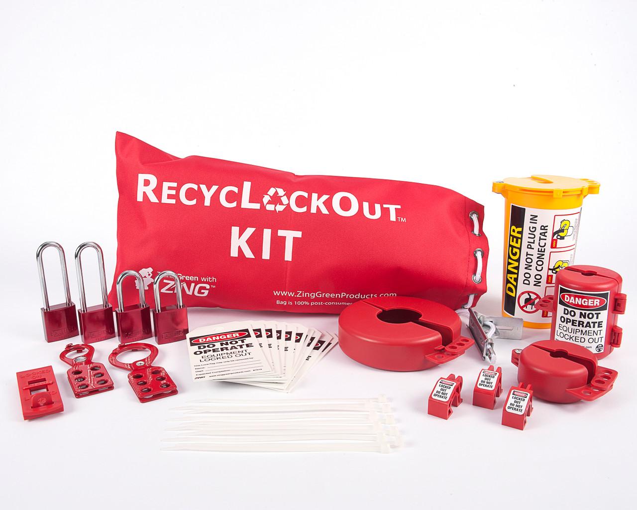 Lockout Tagout Bag Kit with Aluminum Locks, Red Drawstring Bag