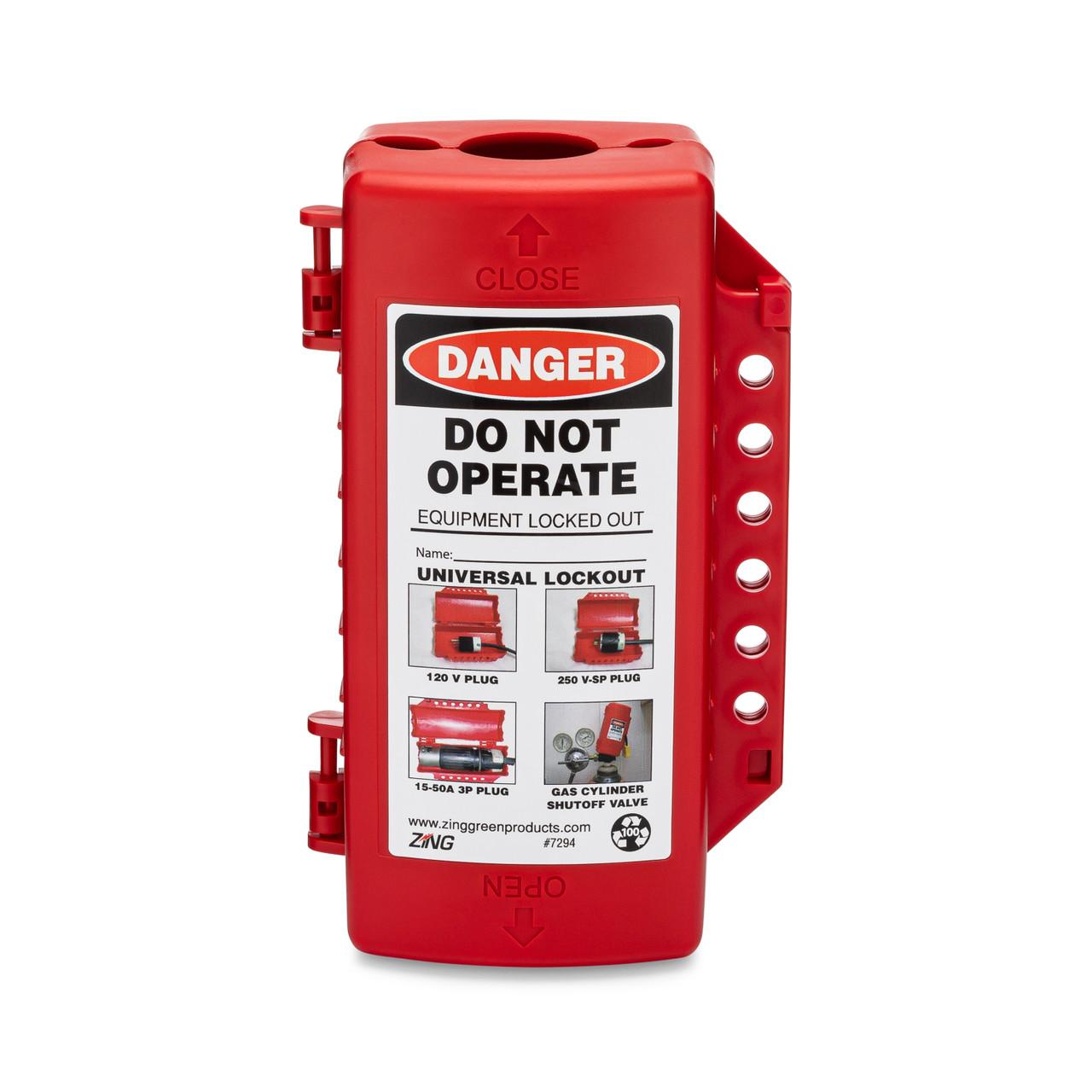 Plug/Cylinder/Forklift Lockout Device, Plastic, Red