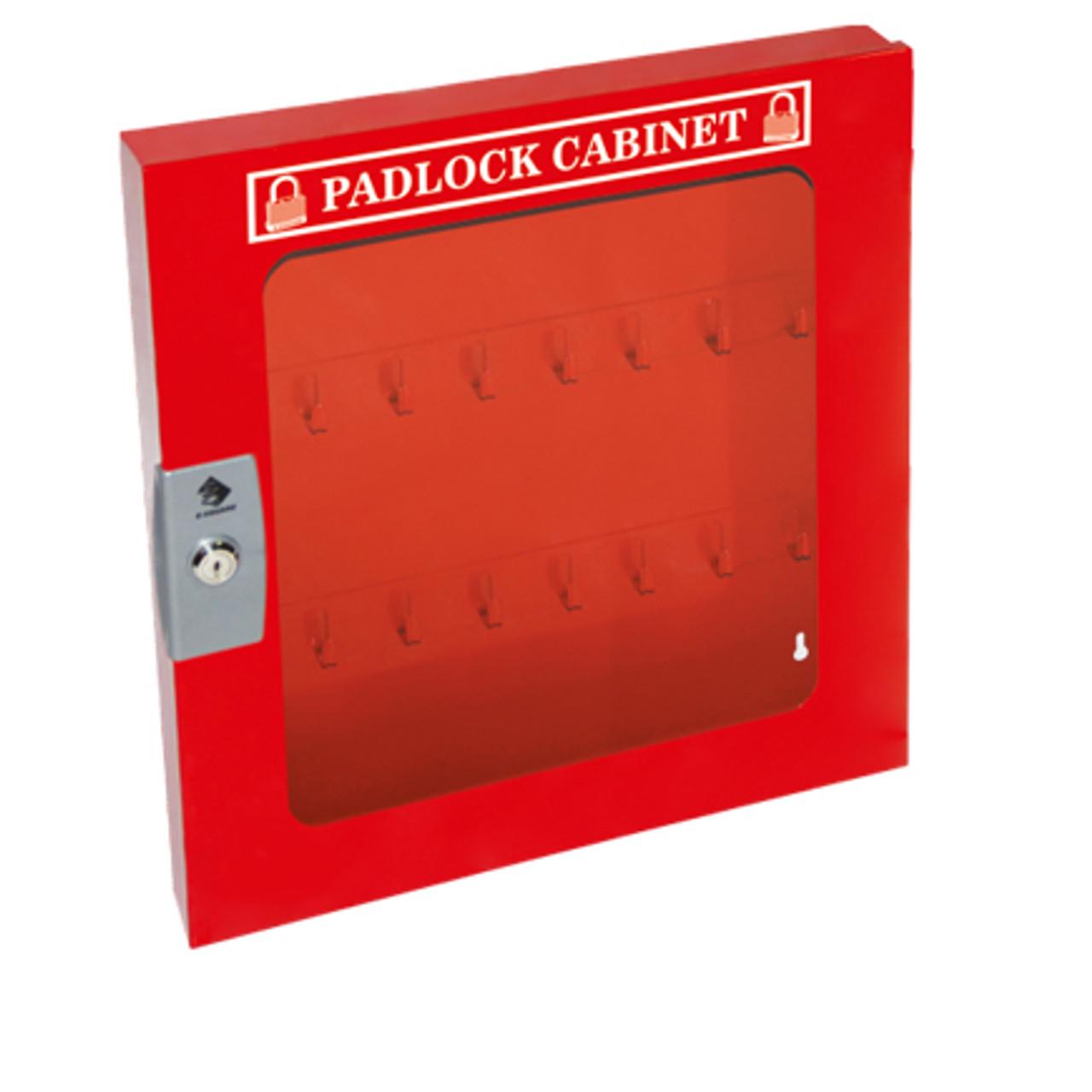 Padlock Cabinet, Red Steel, 55 Padlock Capacity