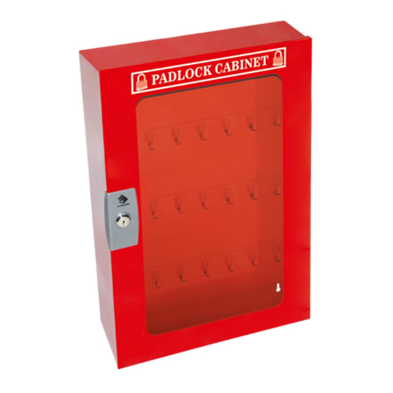 Padlock Cabinet, Red Steel, 84 Padlock Capacity