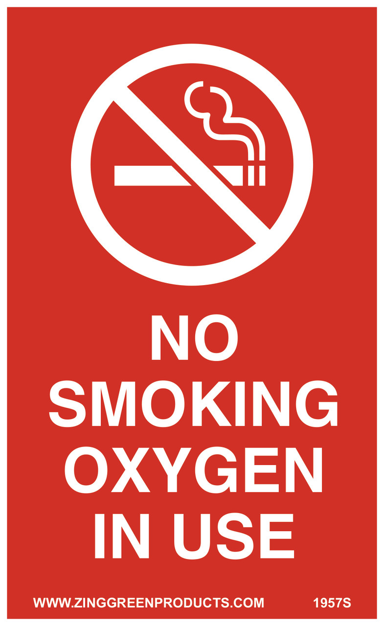 """Sign, No Smoking Oxygen In Use, 5 x 3"""", Adhesive"""