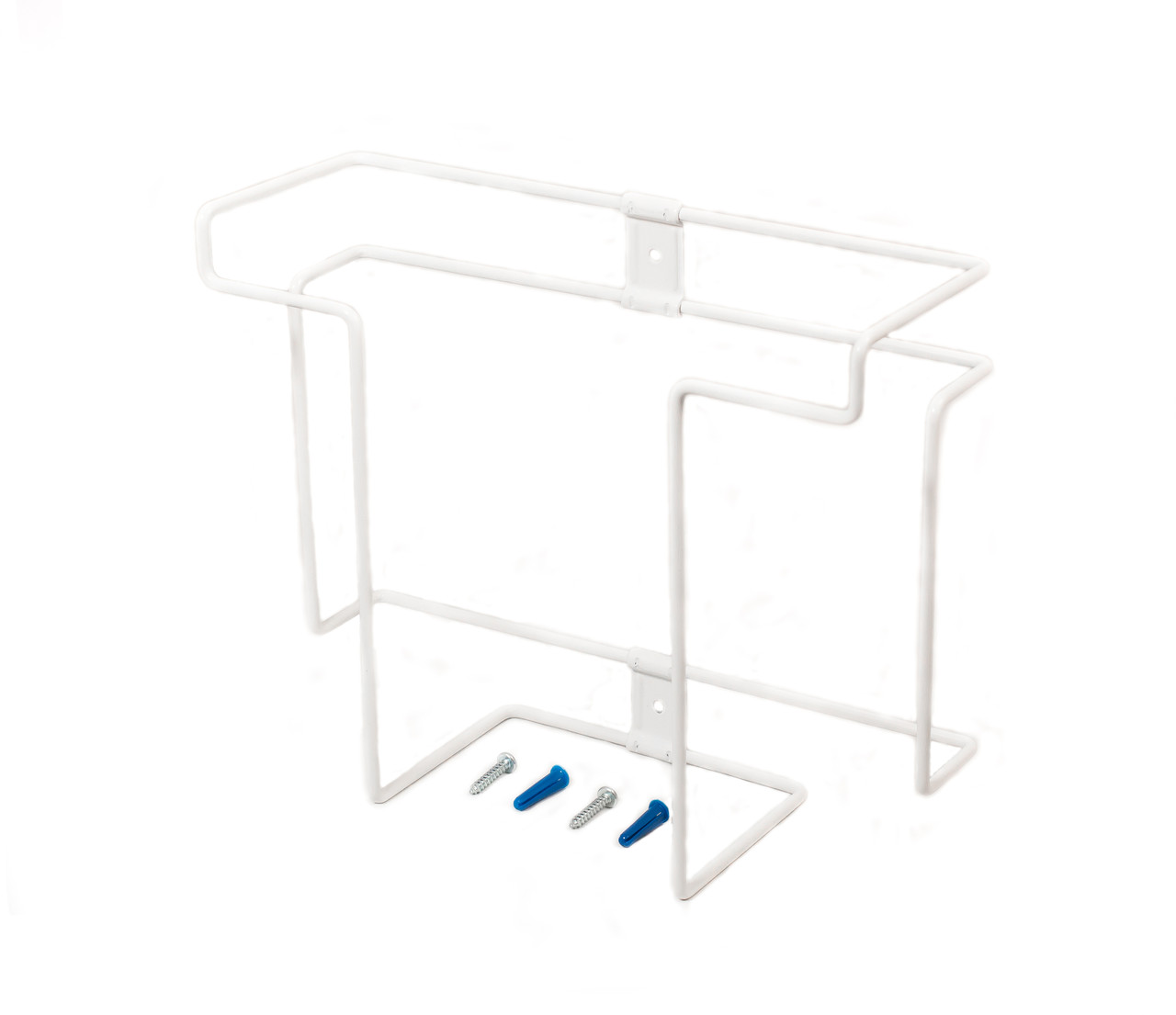 Steel glove box display rack, white