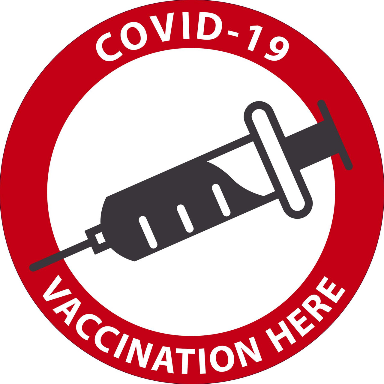 """Facility Label, Covid-19 Vaccinations Here, 6"""" x 6"""", Pressure-sensitive Adhesive, 5/pack"""