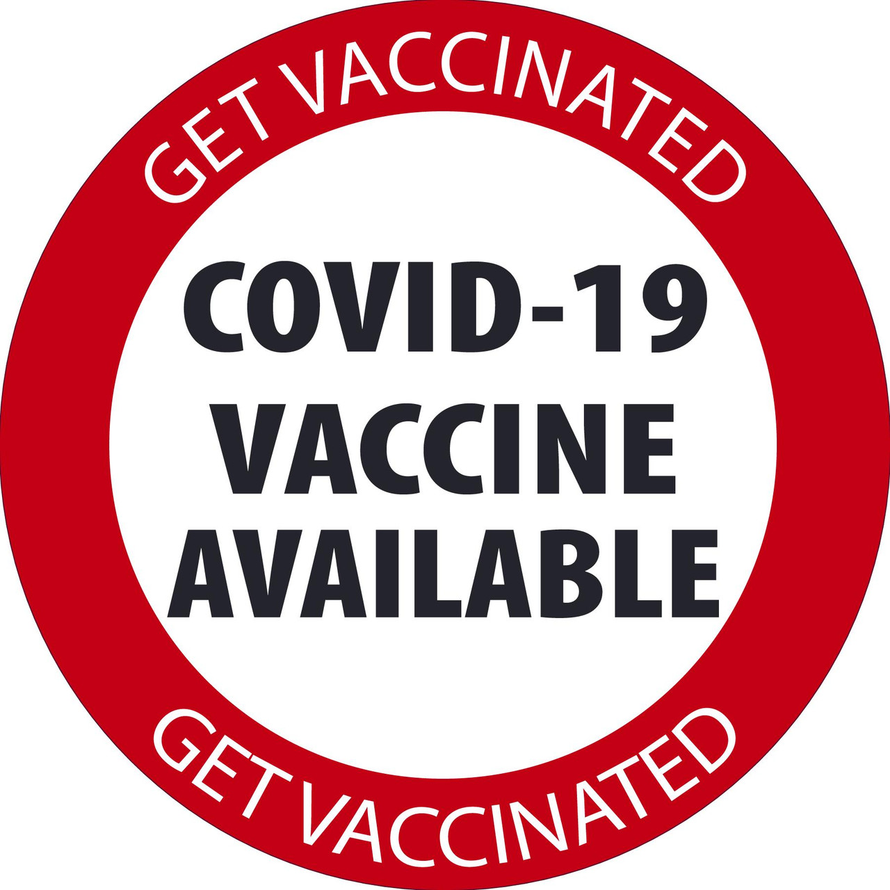 """Window Decal, Covid-19 Vaccinations Available, 6"""" x 6"""", Pressure-sensitive Adhesive, 5/pack"""