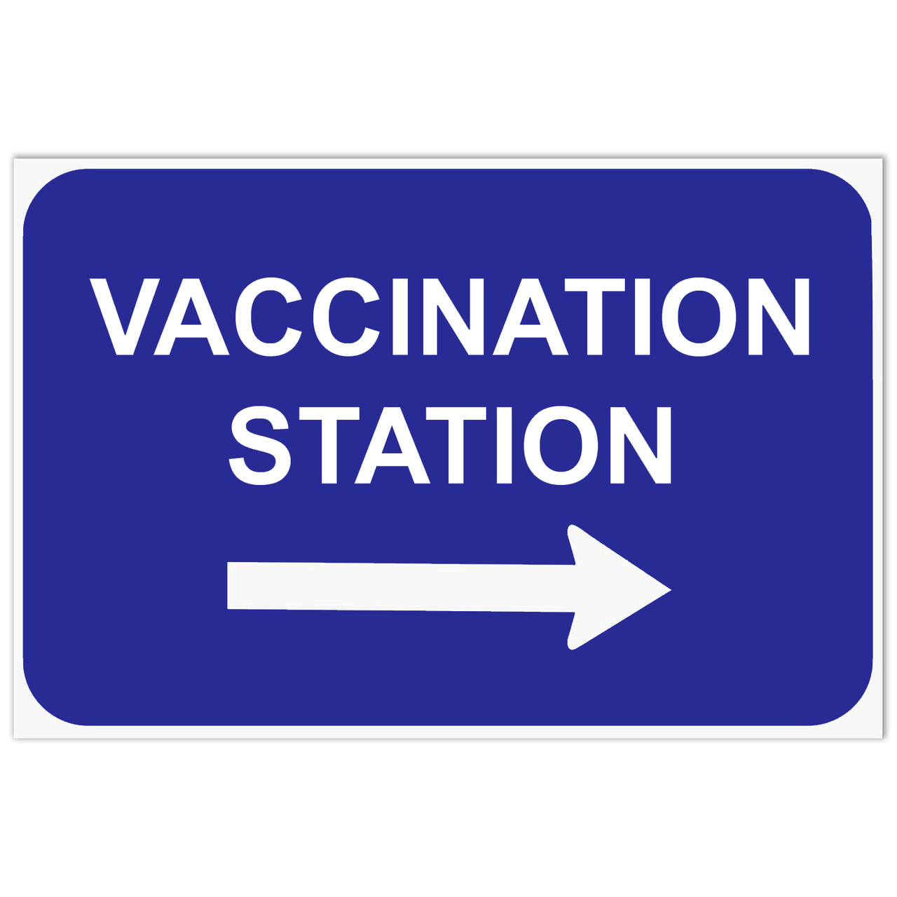 Vaccination Station Parking Sign, Blue with right arrow