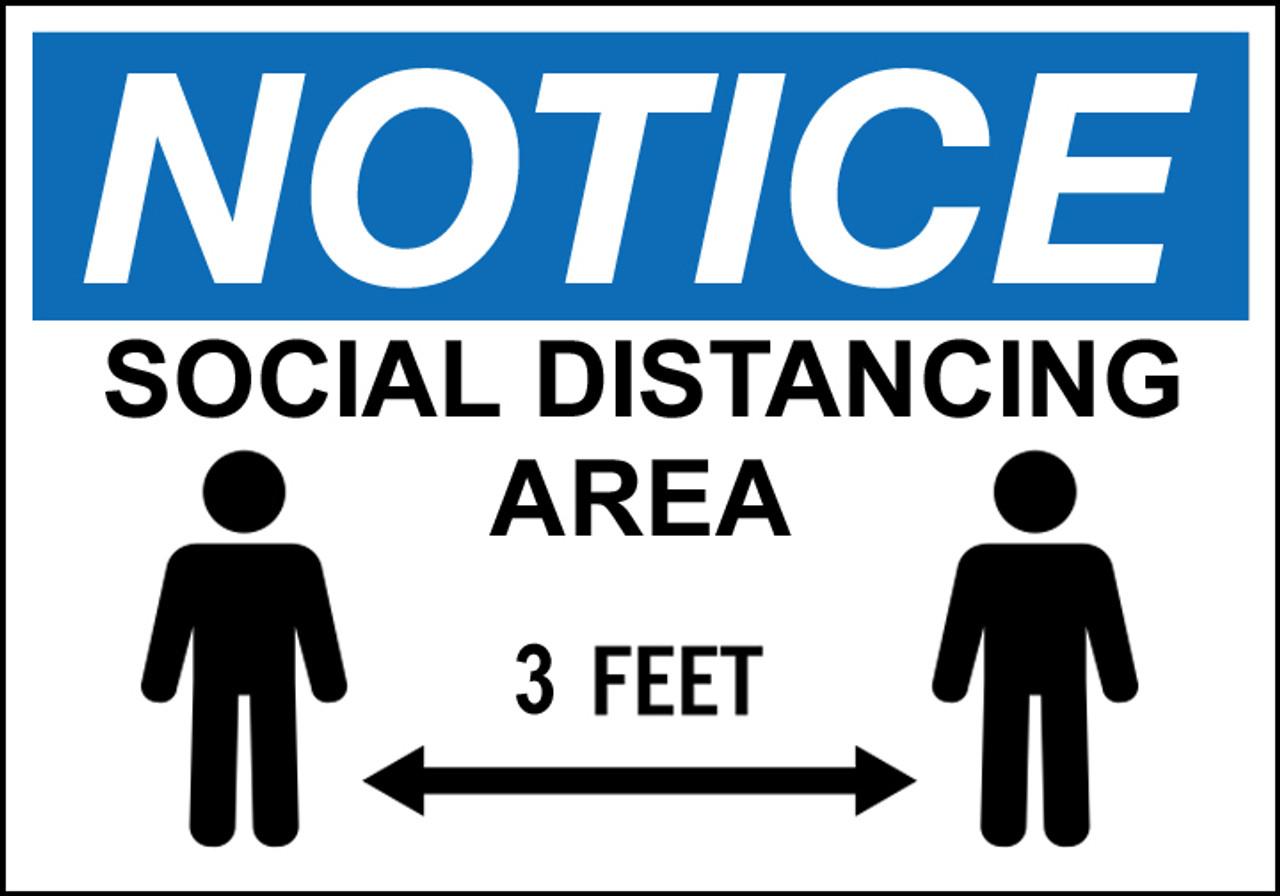 Notice 3 Feet Social Distancing Sign