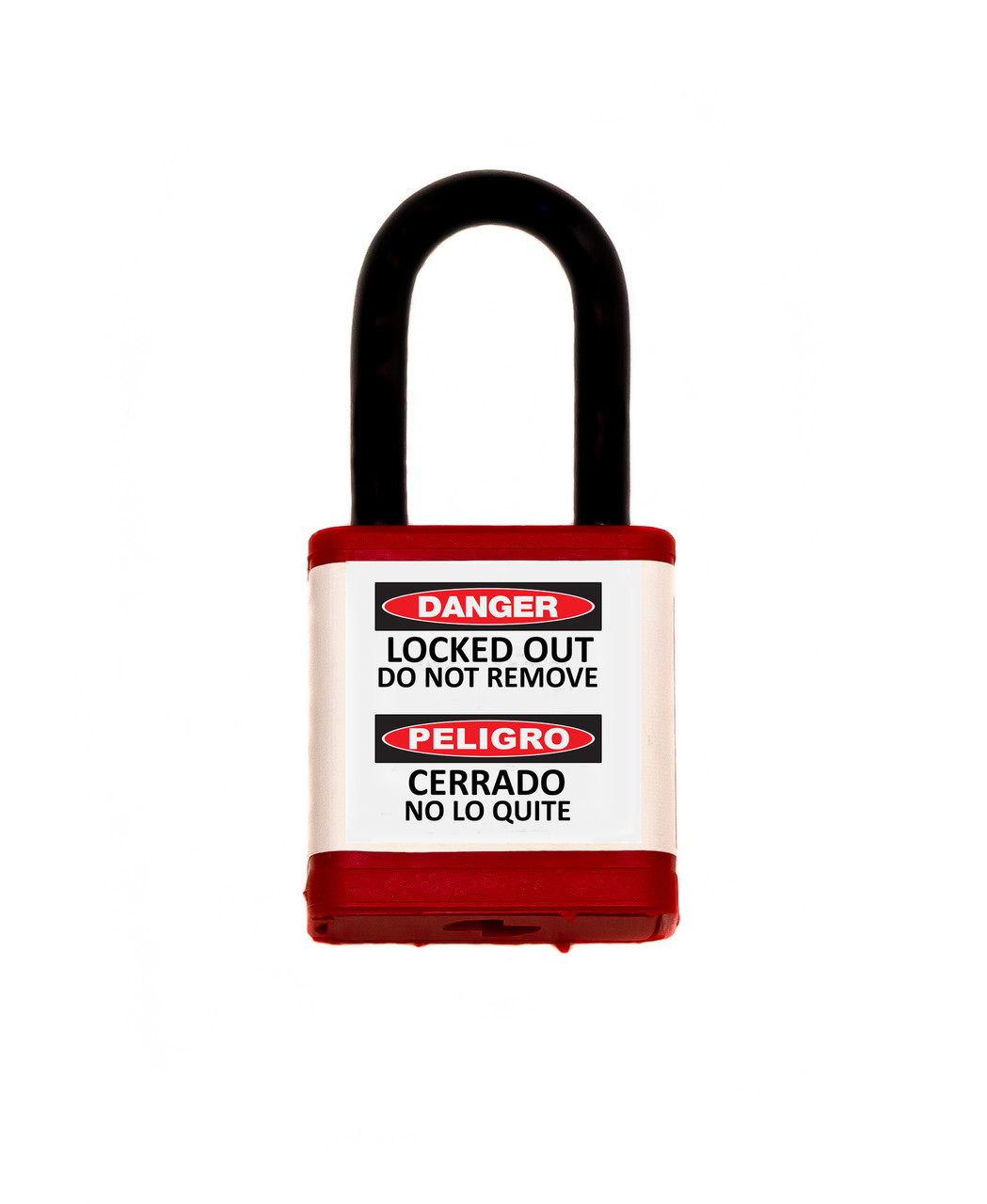 """Lockout Safety Padlock, 700 Series, 1.5"""" Shackle, Keyed Different, Red"""
