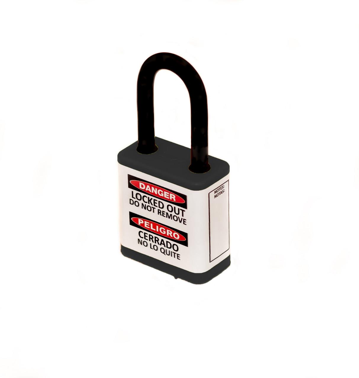 "Lockout Safety Padlock, 700 Series, 1.5"" Shackle, Keyed Different, Black"