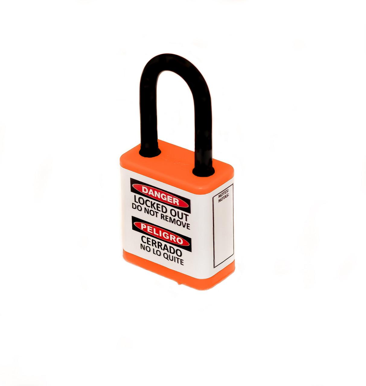 "Lockout Safety Padlock, 700 Series, 1.5"" Shackle, Keyed Different, Orange"