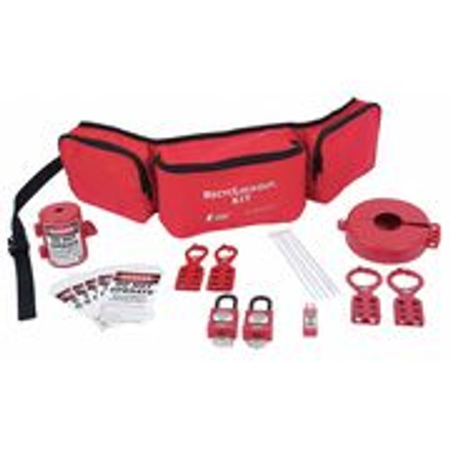 Lockout Belt Kit, Red Fabric, Contains 20 Components