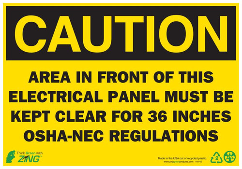 DANGER Area In Front Of This Electrical Panel Must Be Kept Clear For 36 Inches OSHA-NEC Regulations