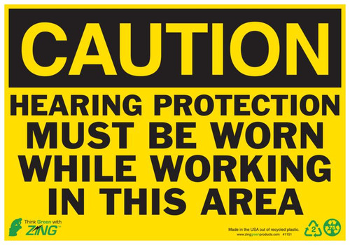 CAUTION Hearing Protection Must Be Worn While Working In This Area