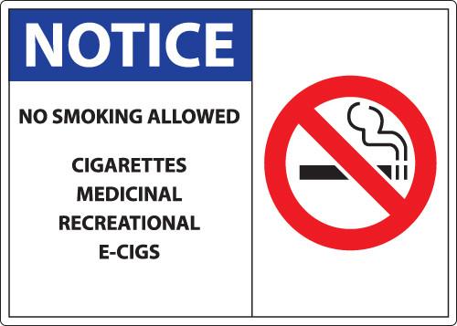 Notice, No Smoking Allowed, Cigarettes, Medicinal, Recreational, E-Cigs