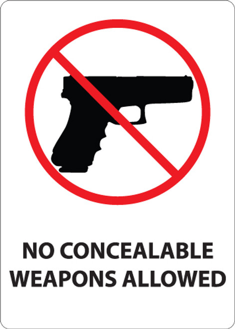 No Concealable Weapons Allowed