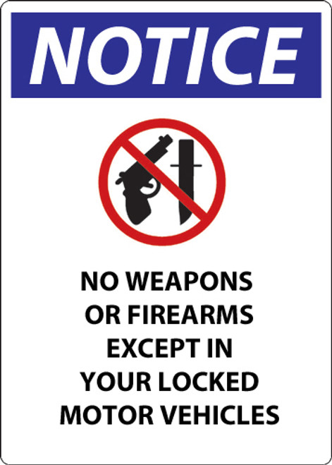 Notice, No Weapons Or Firearms Except In Your Locked Motor Vehicles