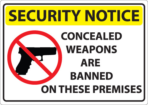 Security Notice, Concealed Weapons Are Banned On These Premises